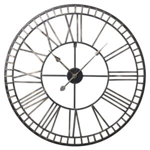 large wall hanging clock in gold and metal with numerals