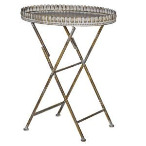 Oval Distressed Metal Tray Table