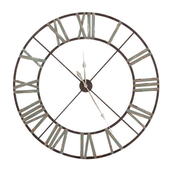 large wrought iron wall hanging clock