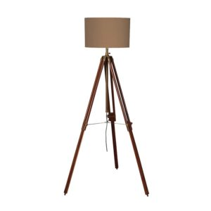 Tripod Lamp in Dark Wood and Brass with lampshade