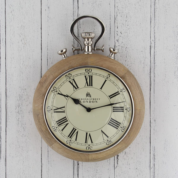 Wall hanging clock that looks like a stopwatch. Wood frame and nickel details