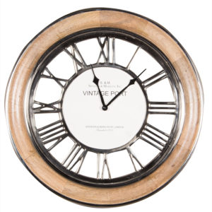 Mango wood frame with polished nickel details wall hanging clock