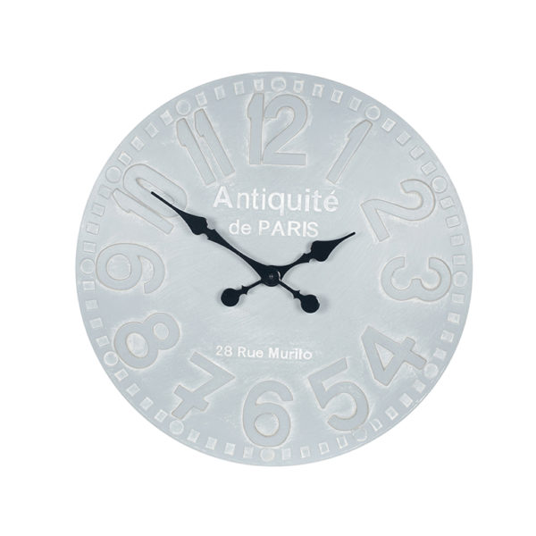 A wall hanging clock in a stone grey colour. Numbers are the same colour but outlined in white so are clearly visible