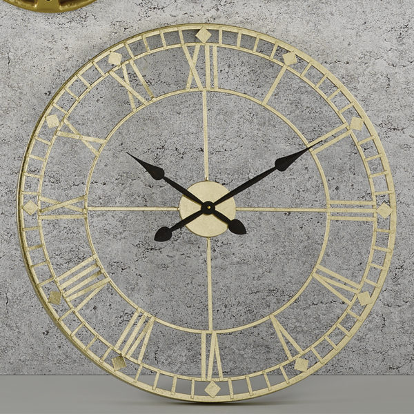 antique gold wall hanging clock with black hands