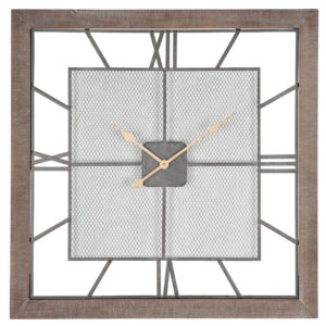 wood square frame wall hanging clock with a mesh clock face