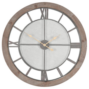 Wall hanging round clock with wood frame and mesh behind the hands of the clock. numbers are Roman numerals.
