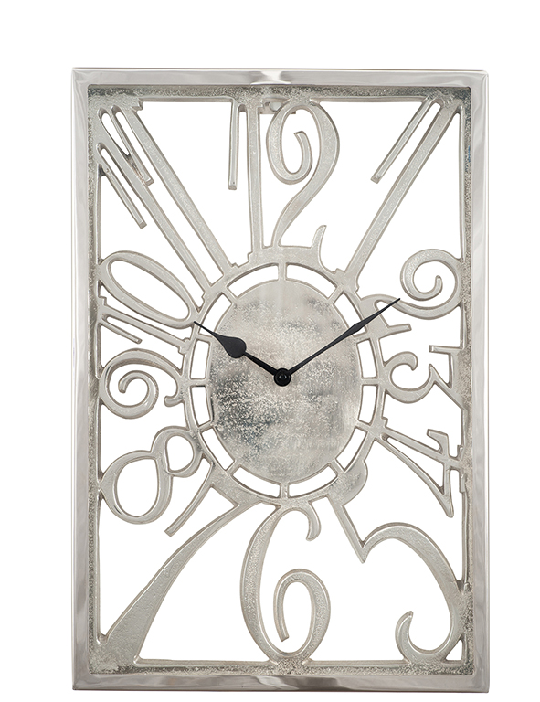 Oblong shaped shiny nickel wall hanging clock with warped numbers