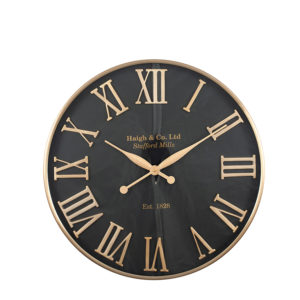 Black clock with antique gold Roman numerals and clock hands