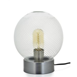Silver base with large textured glass lampshade - Traverse Lamp Orb