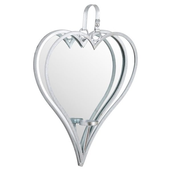 heart shaped wall hanging silver framed mirror with candleholder