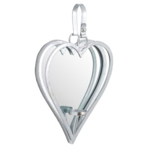 small silver framed heart shaped wall hanging mirror with candleholder
