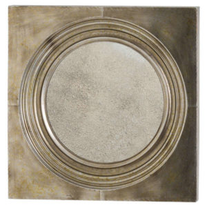 Circle mirror with bronze frame and antiqued glass