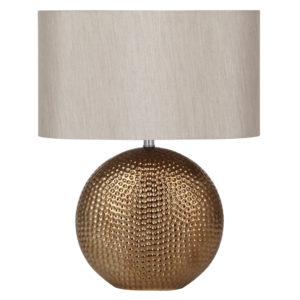 Ceramic Hammered Bronze Table Lamp with beige/cream lampshade