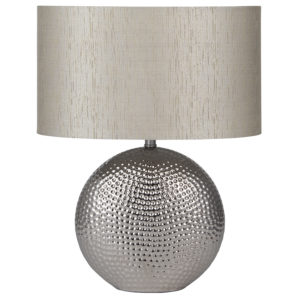 Ceramic Hammered Chrome Table Lamp with grey lamp shade