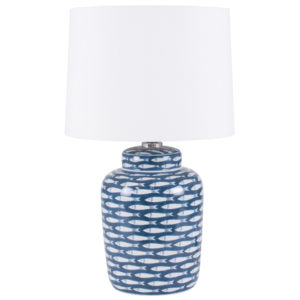 Blue and white fish design table lamp with a white lampshade