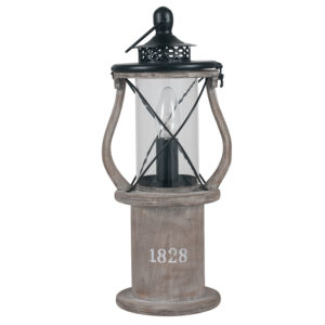 antique wooden table lamp looks like an old fashioned lantern