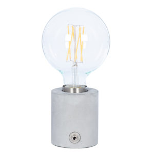 Concrete base table light with Brushed Chrome Bulb Holder for an exposed Edison bulb (bulb not included) with no lamp shade