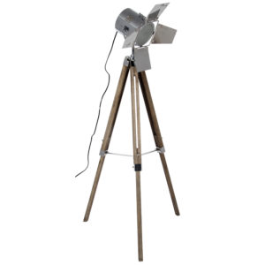 Wooden legs and Chrome Tripod Floor Lamp