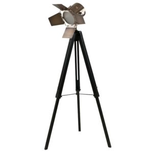 Wood Legs and Antique Brass Tripod Floor Lamp