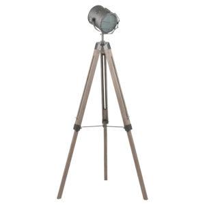 Grey Metal and Antique Wood Tripod Floor Lamp