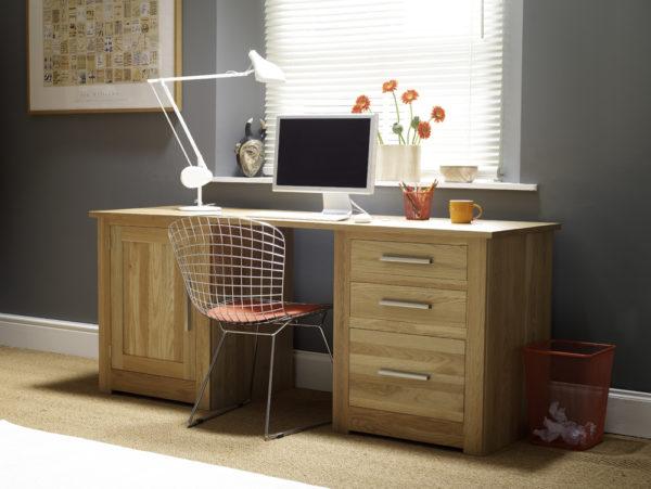 Wood Desk Unit home office set up
