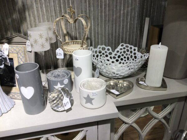 Tall white vase with grey star motif