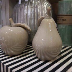 Beige Ceramic Pear Ornament