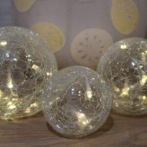 Crackle Light, three with fairy lights inside glass ball
