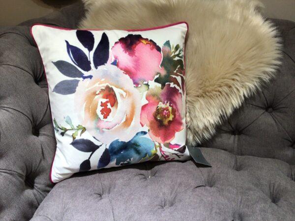 watercolour flower design feather filled decorative pillow