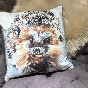 hedgehog design feather filled decorative cushion