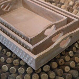 Set of 3 Rectangular Heart Motif Light Wood, Wooden Trays