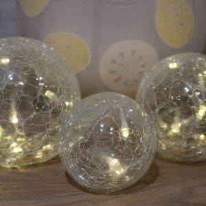 Crackle Glass Ball LED lights. 3 different glass balls varying in size attached by one clear 3M cable.
