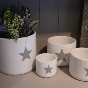 A set of 3 White ceramic plant pot with a grey star motif, varying sizes