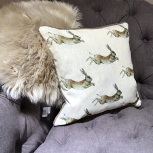 Hare Motif Cushion with cream background