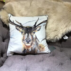 Stag watercolour cushion with cream background