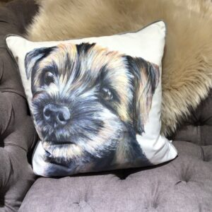 Border Terrier Dog Cushion with cream background
