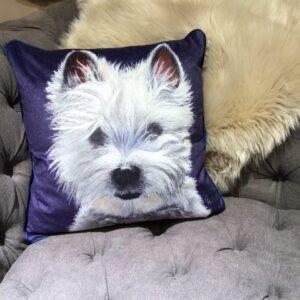 West Highland Terrier Print velvet cushion