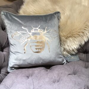 Grey Velvet Cushion with Gold Bee