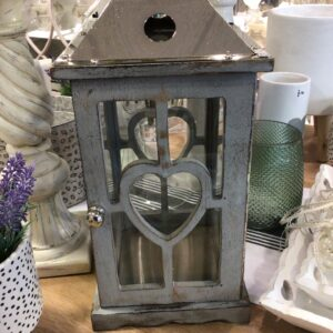 Grey Wooden and Metal Lantern with Heart detail
