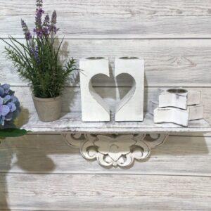 white wooden tea light holder