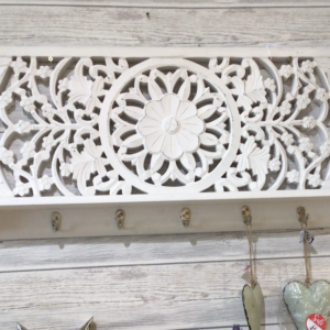 Rectangular Carved white washed wooden wall panel With shelf and 5 hooks
