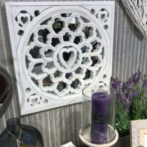 Distressed White wooden carved panel with heart motif