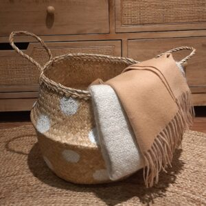 folding seagrass basket with white spot